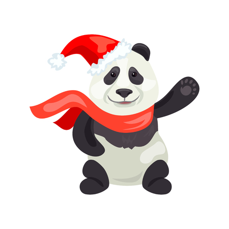 merry panda christmas. vector illustration