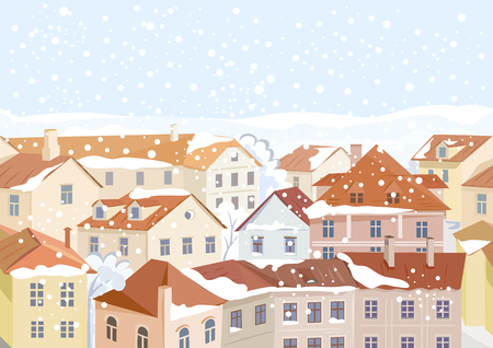 winter in the city, old european streets, seamless. vector illustration