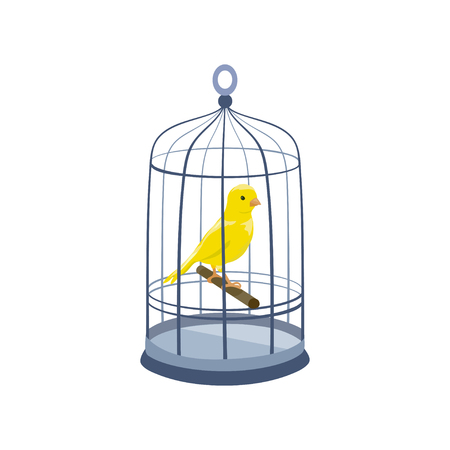 llustration with a bird in a cage. vintage cage. vector illustration