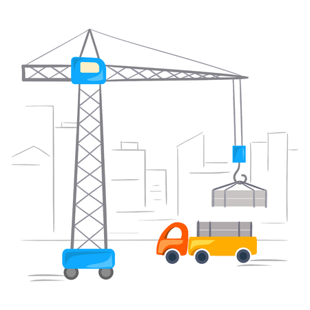 crane, truck, building. vector illustration Çizim