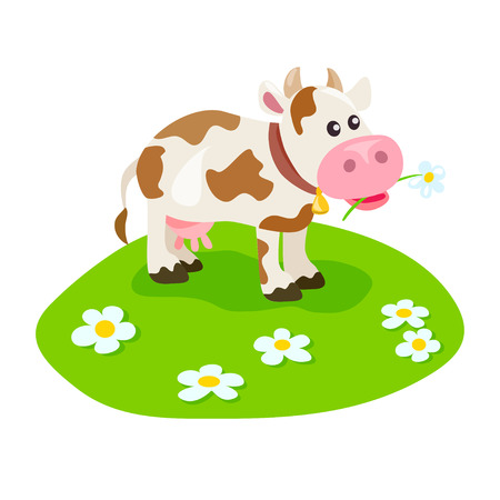 cute cow on the green lawn. vector illustration