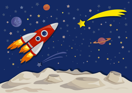 space illustration with space ship and moon. cut style paper. vector illustration