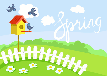 spring, birdhouse and birds. vector illustration Çizim