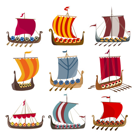 set of medieval ships, Viking Drakkars. vector illustration