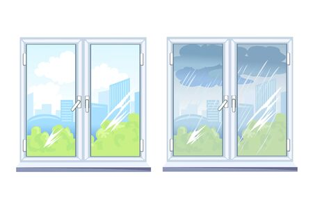 windows, view outside the window is sunny and overcast. vector illustration Standard-Bild - 134717474