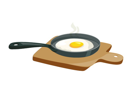 fried egg in the pan. wooden plank. vector illustration