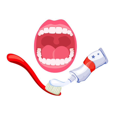 teeth, open mouth, hygiene. toothpaste and brush. vector illustration Çizim