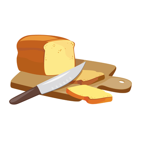 bread and knife on a wooden board. vector illustration