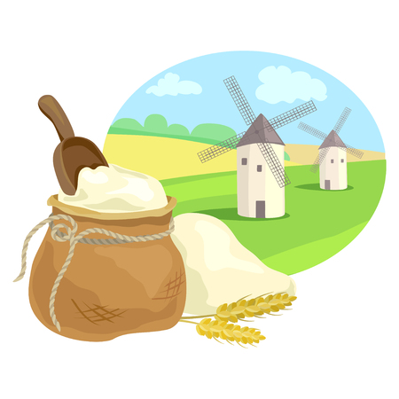 flour sack and rural field with mills. vector illustration Illustration
