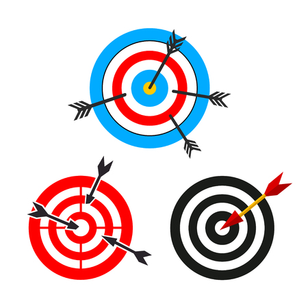 target and arrows, different images. vector illustration