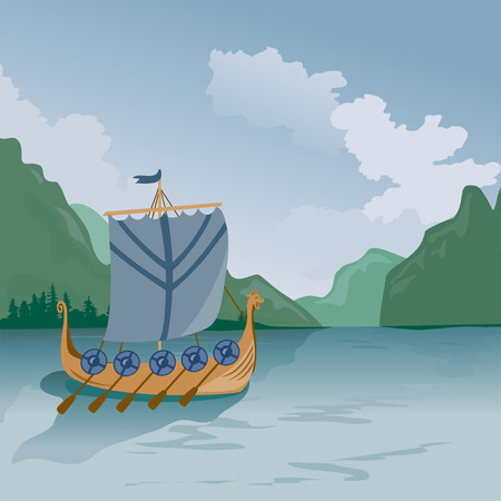Drakkar medieval ship sailing on the sea. vector illustration Çizim