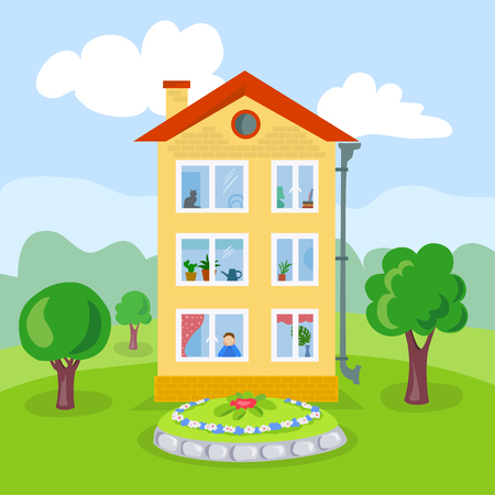 cartoon house on the landscaped area. vector illustration