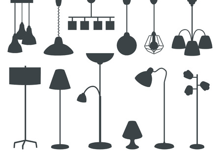 set of modern electric lamps, chandeliers, floor lamps. silhouette. vector illustration
