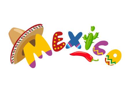 Mexico, Mexican cartoon elements. vector illustration