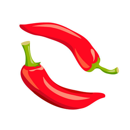 pair of red peppers isolated. vector illustration Çizim