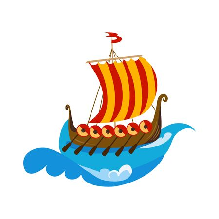 icon of viking ship, drakkars, isolated. vector illustration Illustration