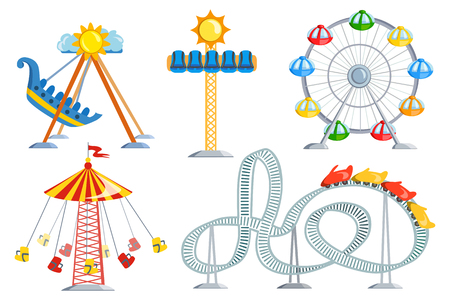 illustration with amusement park and carousel. vector illustration Standard-Bild - 134680220