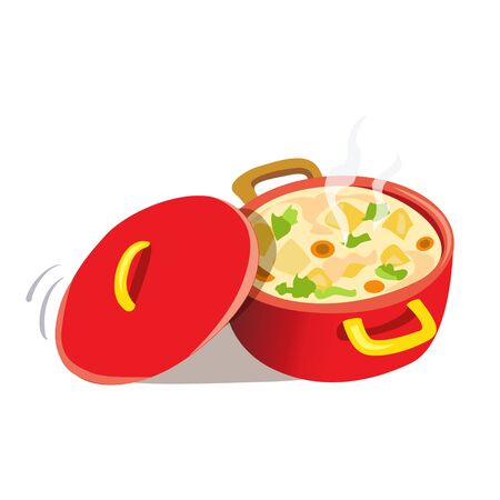 pan with a prepared dish. vector illustration Standard-Bild - 134680222