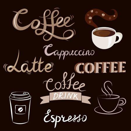 coffee set, lettering, linear sketch. vector illustration