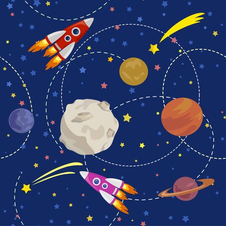 seamless illustration with space, planet and rocket. vector illustration