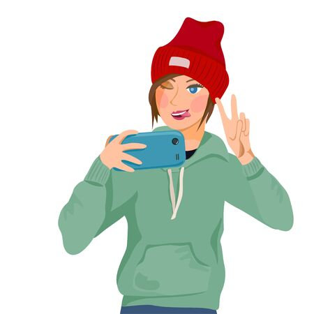 girl takes a selfie. girl shows victory. vector illustration