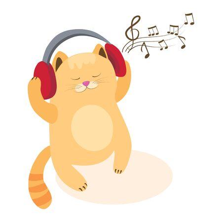 cute cartoon kitten with headphones. vector illustration