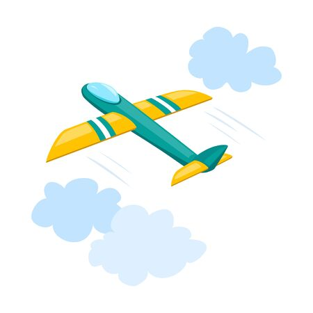 toy plane in the sky. vector illustration