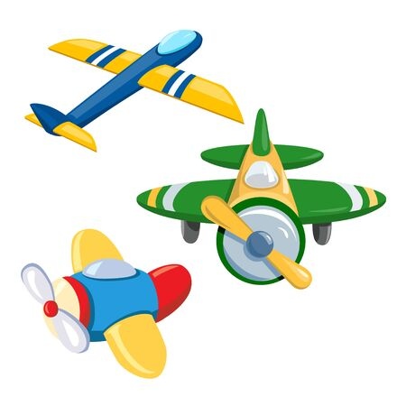 set of different toy airplanes. vector illustration