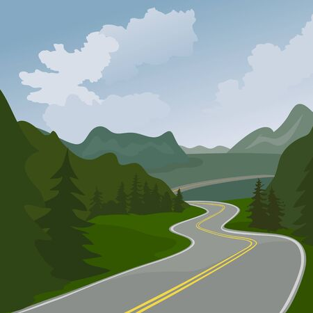 highway in forest mountains. vector illustration