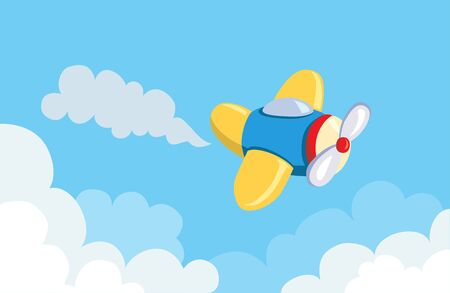cartoon flying airplane in the clouds. vector illustration