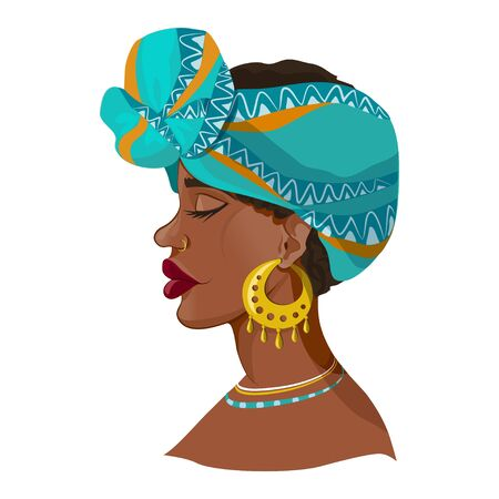 beautiful african girl. young girl in national turban and jewelry. vector illustration Illustration
