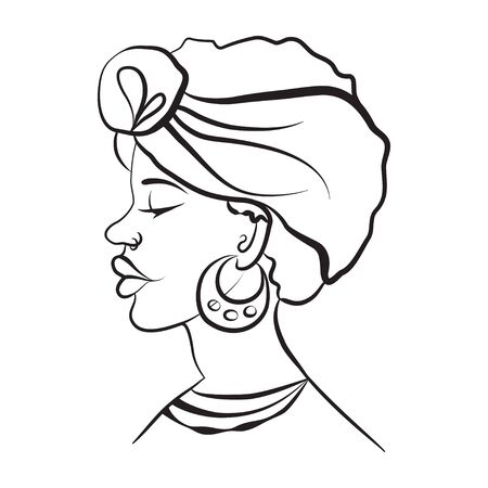african girl portrait, sketch linear, isolated. vector illustration