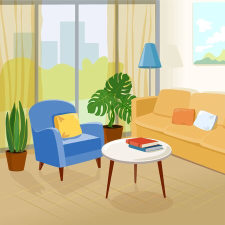 living room, modern interior. vector illustration