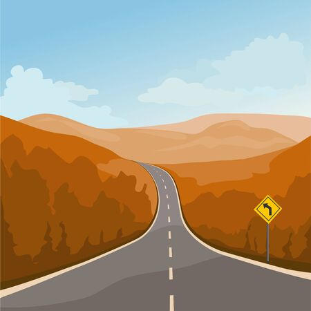 highway with a turn in the mountains.vector illustration