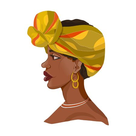beautiful african girl in traditional turban. vector illustration