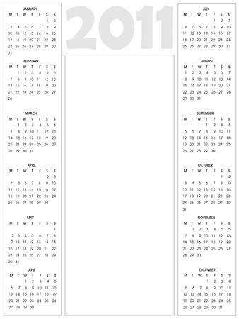2011 calendar with blank vertical space for your text or photo Vector