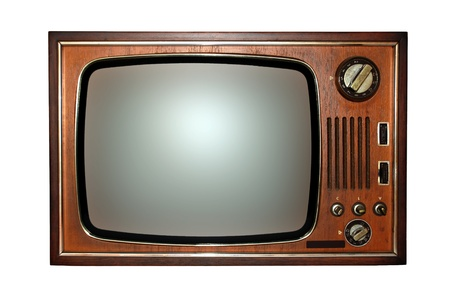 Old television with black and white screen.