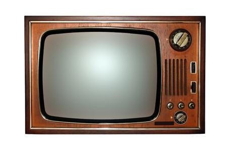 television antigua: Viejo televisor con pantalla blanco y negro. Foto de archivo