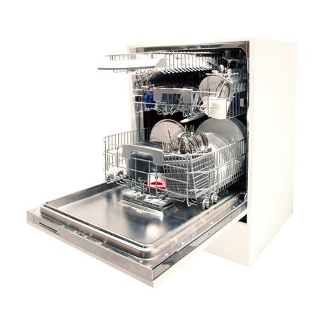 Modern dishwasher opened Stock Photo