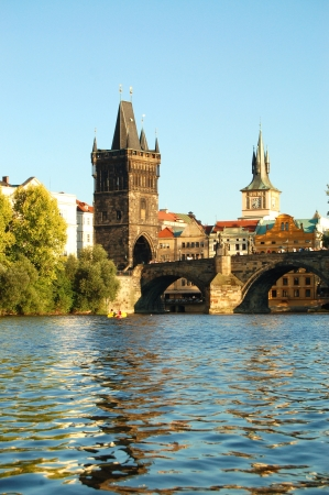 vltava: View of the Charles Bridge in Prague City