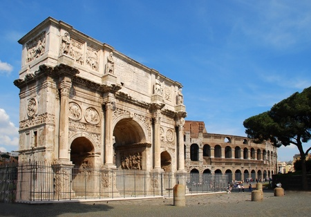 The Arch of Constantine (Italian: Arco di Constantino) is a triumphal arch in Rome, situated between the Colosseum and the Palatine Hill. photo