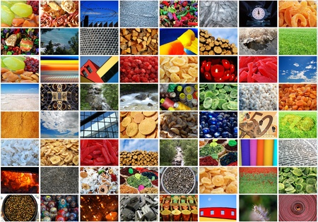 Photo collage - Background and pattern full color: fruits, wood, sky, architectural detail, money, candles, pin, spice, desert, frost...