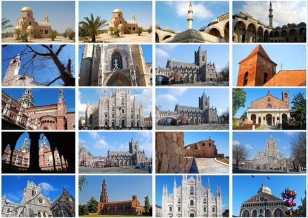 wells: Photo collage - Curches in Europe Stock Photo