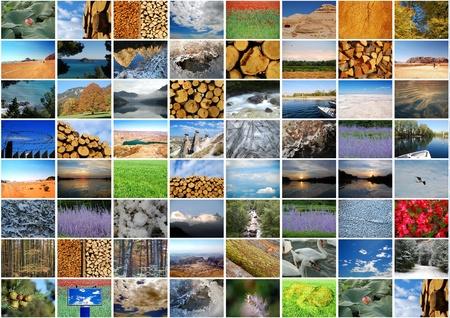 Photo collage - Nature: sky, green, wood, cloud, desert, river, lake, sea, ice...