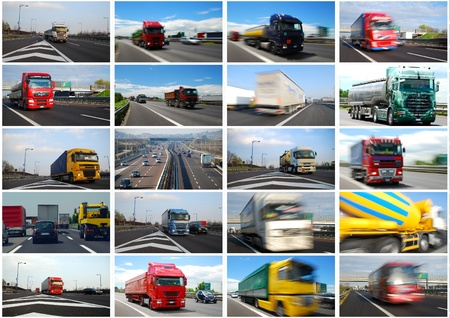Photo collage of trucks and roads in Europe