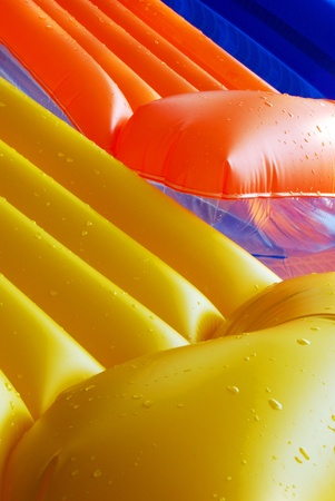 Two inflatable mattress  in the inflatable pool Stock Photo