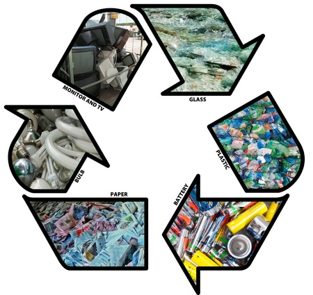 Recycling sign: plastic, paper, bulb, electronic