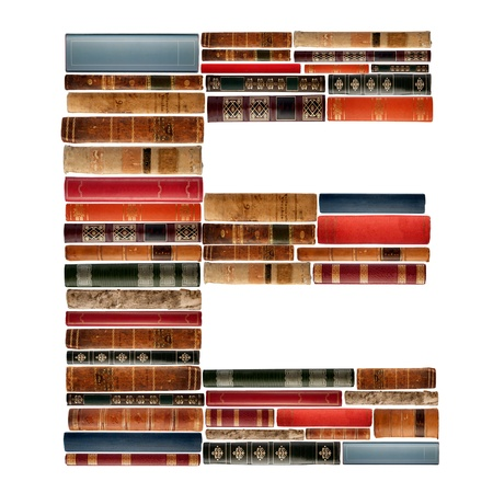 spines: E - Font composed of spines of books Stock Photo
