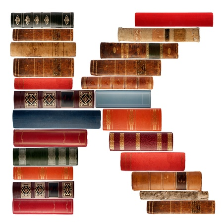 spines: K - Font composed of spines of books Stock Photo