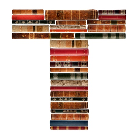 spines: T - Font composed of spines of books